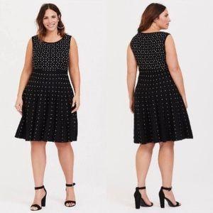 NWT Torrid Black & White Dot Skater Sweater Dress